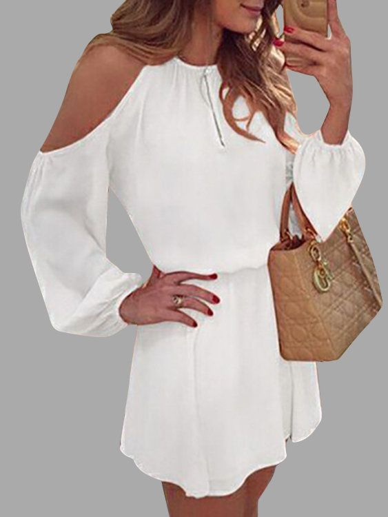 A lightweight chiffon dress featuring cold shoulder, long