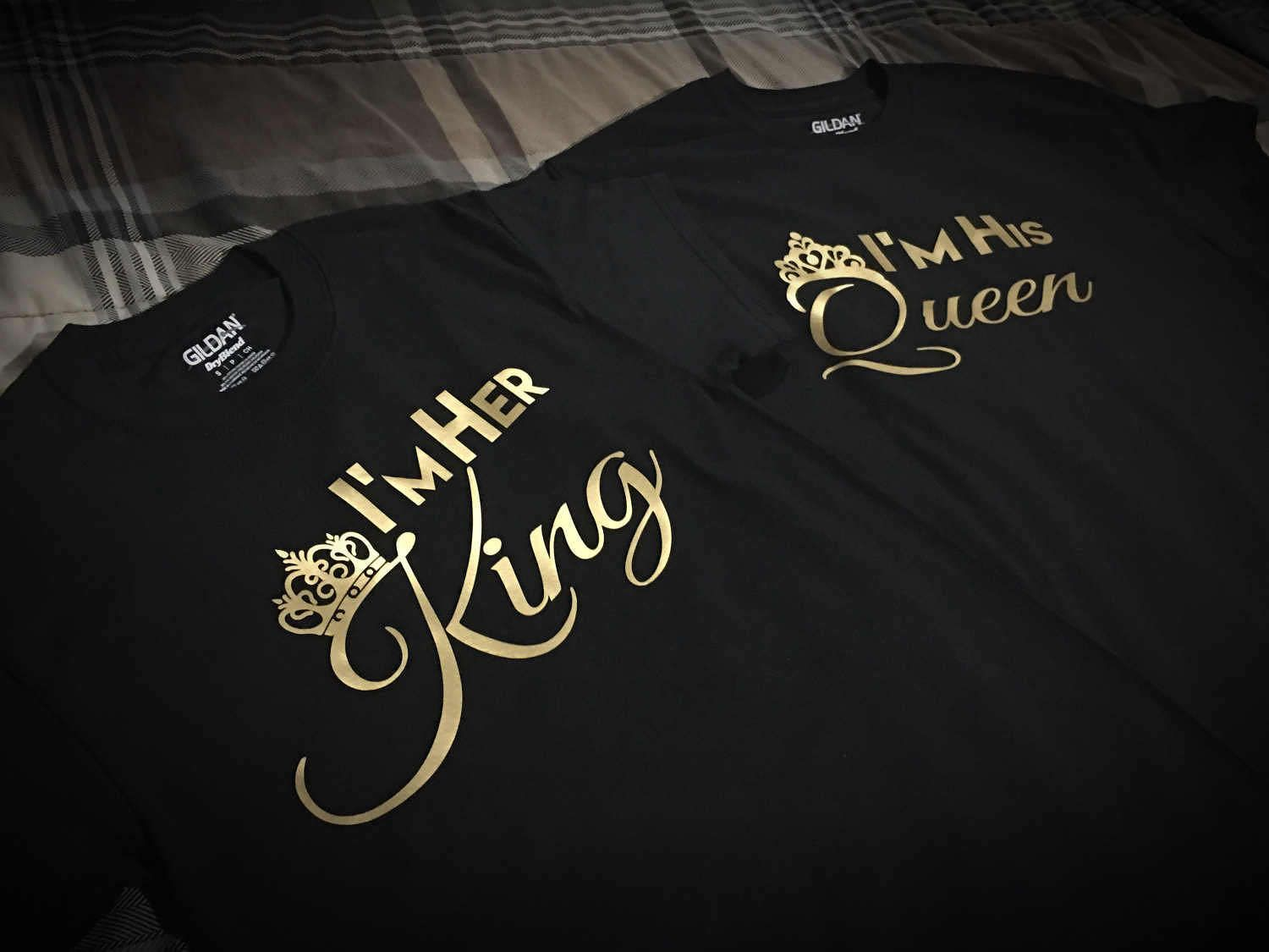 f71ab4bf20 Couples King and Queen Shirts for Relationship / Engagement - Gold Edition  by TheMeekApparel on Etsy