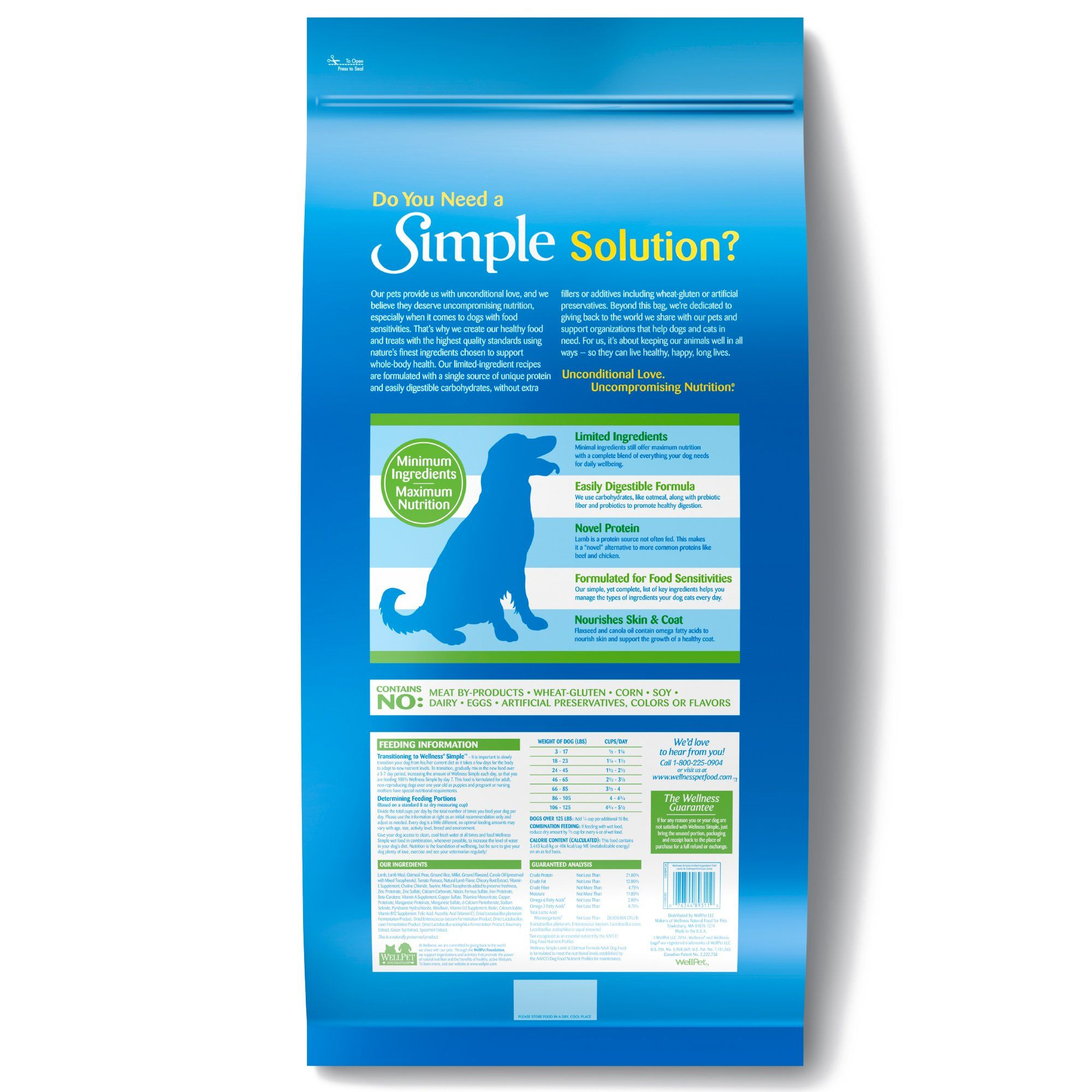 Wellness Simple Limited Ingredient Diet Lamb Oatmeal Formula Dry