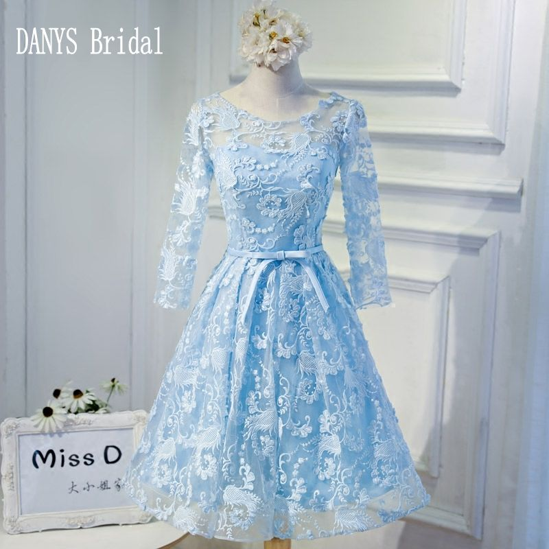 36df4b7029 Sky Blue Short Homecoming Dresses 8th Grade Prom Dresses Junior High Cute  Lace Graduation Formal Dresses
