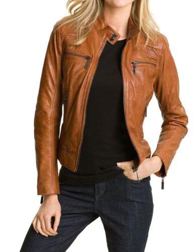 New Women Leather Jacket Red Slim Fit Biker Motorcycle lambskin Size S M L XL
