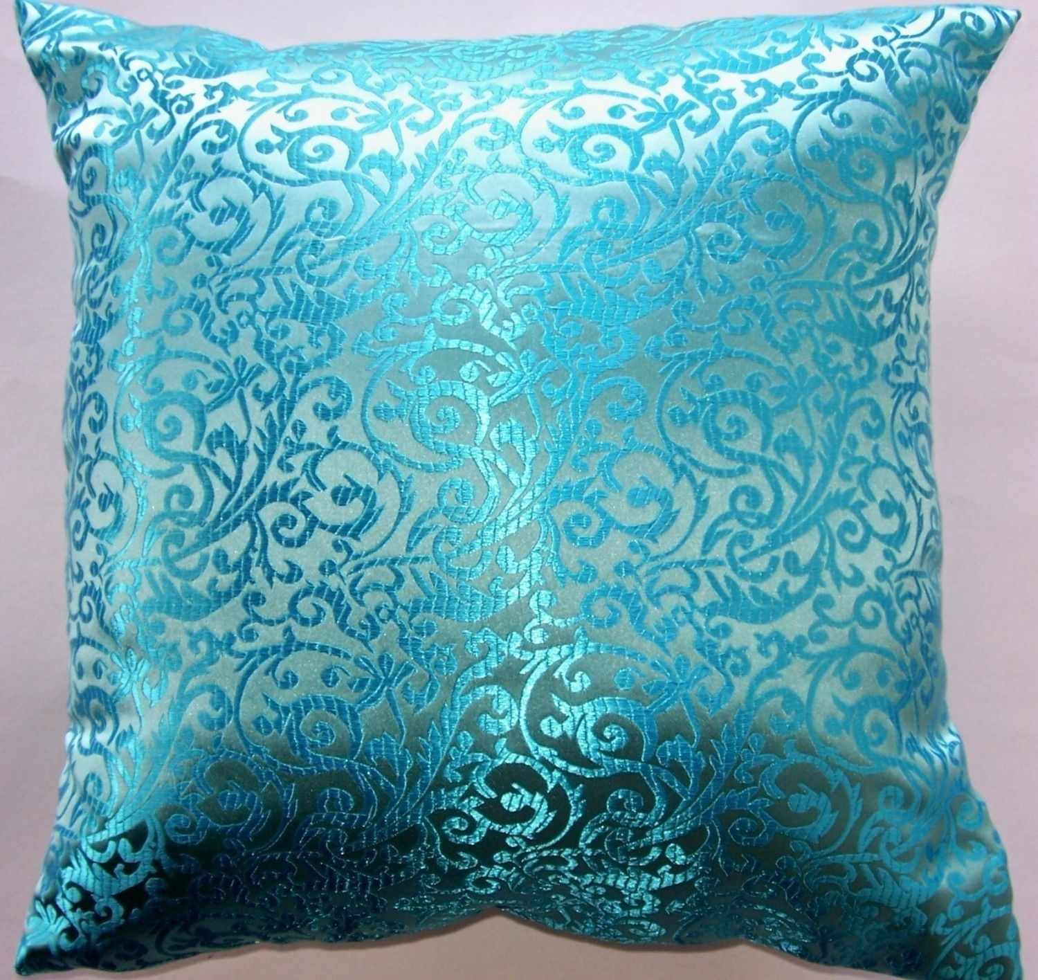 Turquoise Throw Pillow Cover Satin Brocade by sassypillows $19 99