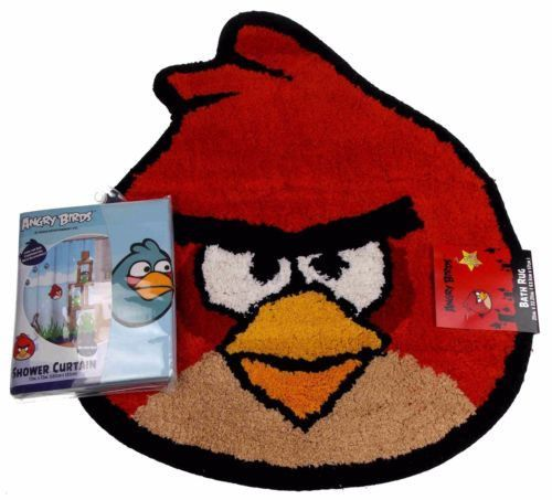 Lot 2 Rovio Angry Birds Red Bath Rug Mat Blue Microfiber Shower Curtain Pigs Set