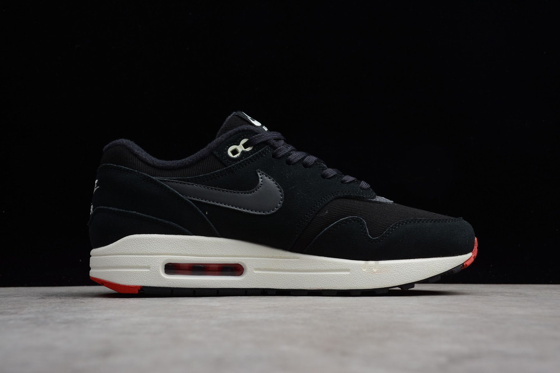 low priced ac3eb e14a9 Nike Air Max 1 Premium Mini Swoosh Bred 875844-007 For Sale