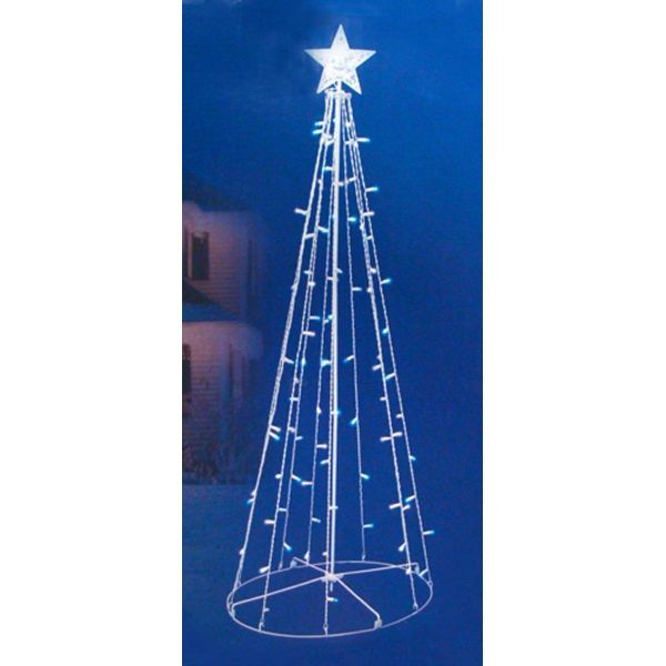 5\u0027 Blue  White LED Lighted Outdoor Twinkling Christmas Tree Yard