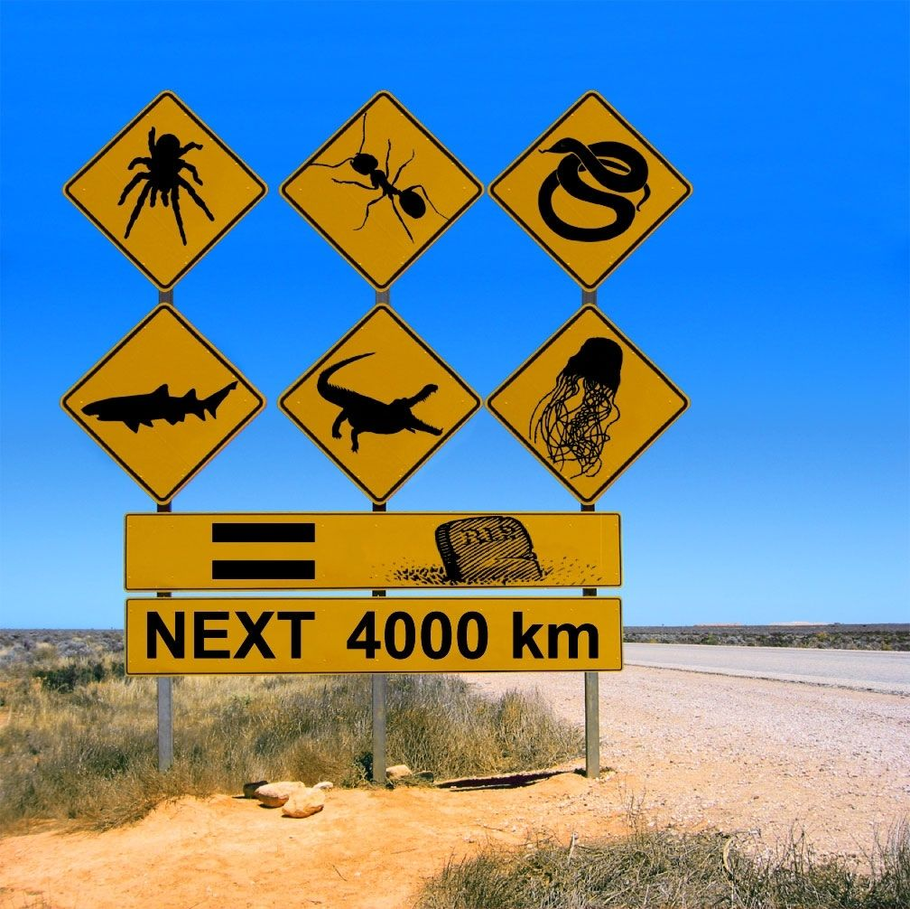 to the Outback! Australian road signs, Meanwhile