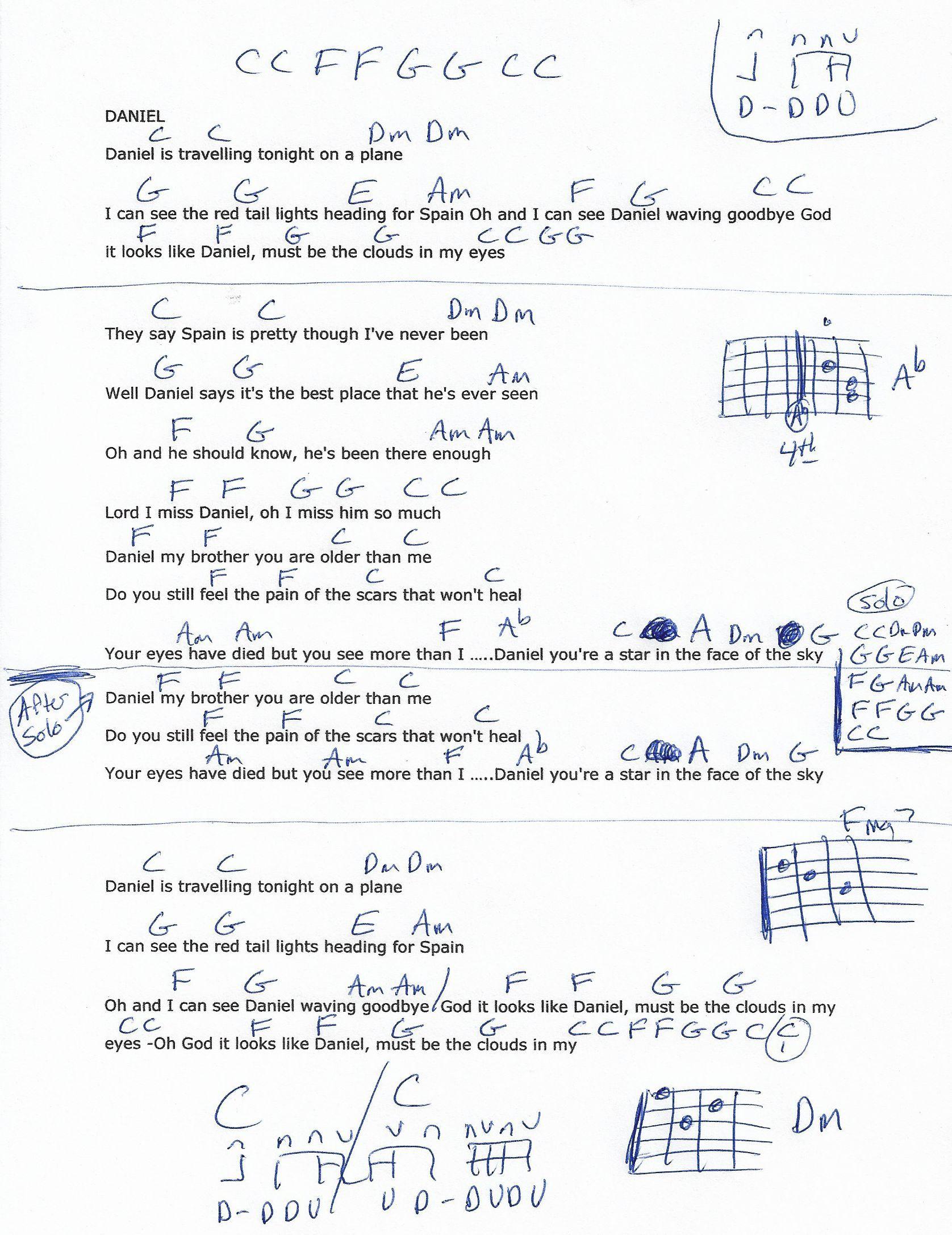 Daniel elton john guitar chord chart lyrics music pinterest daniel elton john guitar chord chart hexwebz Images