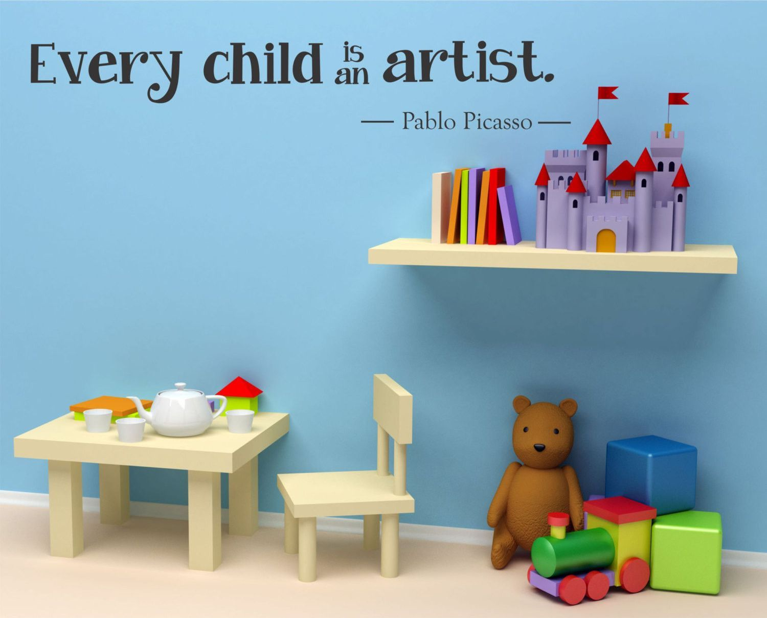 Every Child is an Artist Pablo Picasso Quote Vinyl Wall