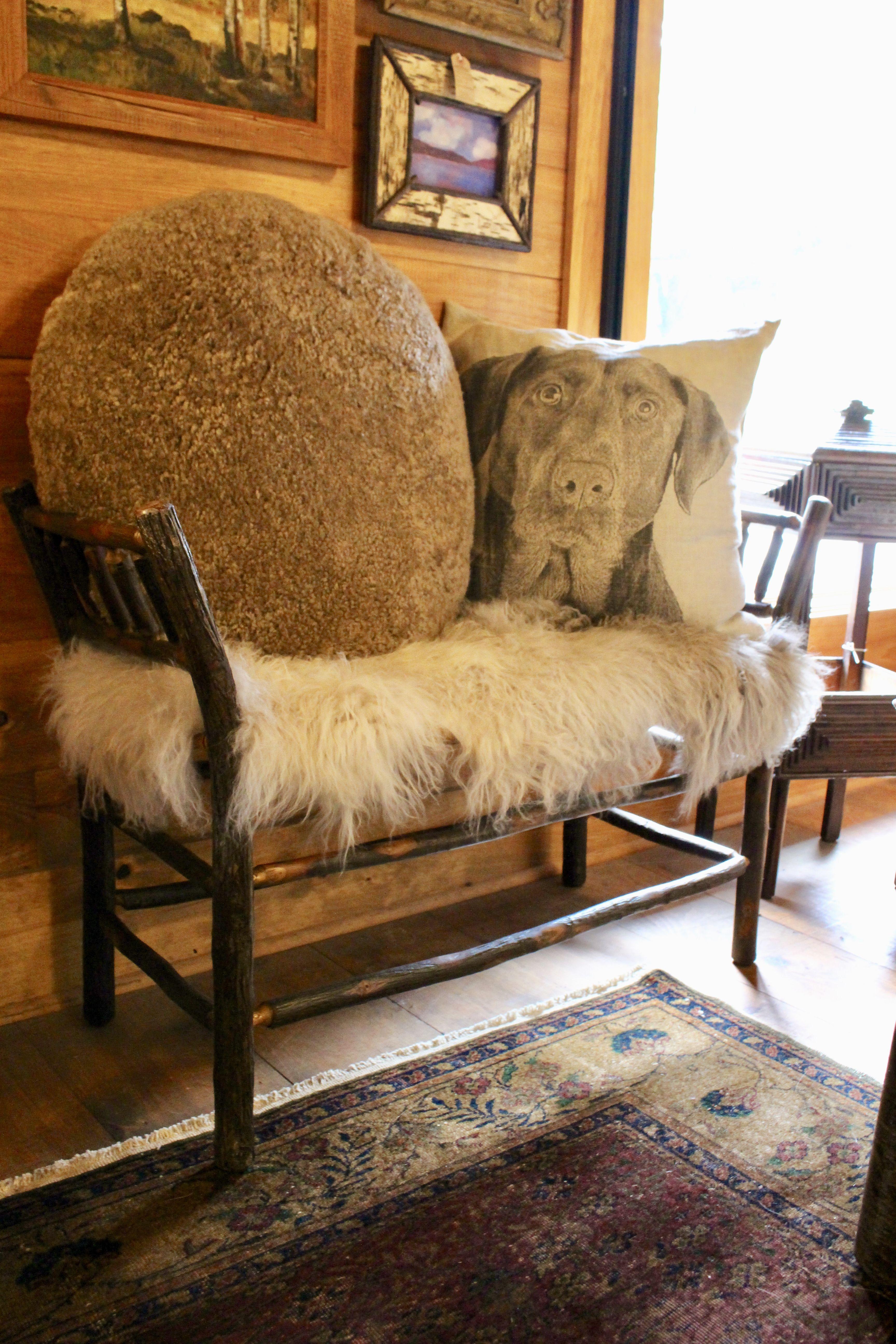 Roman Bench From Dartbrook Rustic Goods | Mongolian Sheep Fur Pillow |  Linen Portrait Pillow