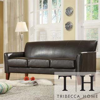 @Overstock.com   TRIBECCA HOME Uptown Dark Brown Faux Leather Modern Sofa    Give
