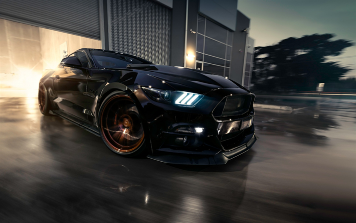 Download Wallpapers Ford Mustang Black Sports Coupe Tuning Mustang Bronze Wheels Muscle Car Black Mustang Ford Besthqwallpapers Com Ford Mustang Black Mustang Mustang