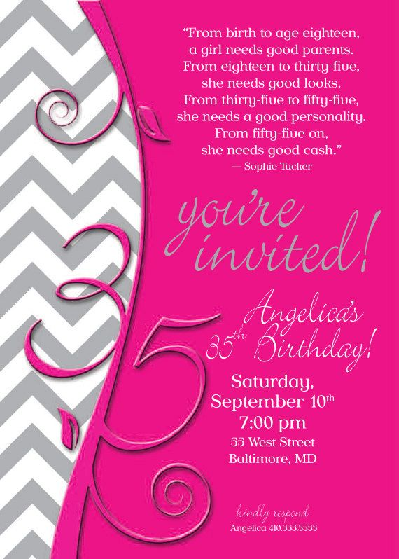 Chevron 35th birthday invitation invitation designs pinterest chevron 35th birthday invitation filmwisefo