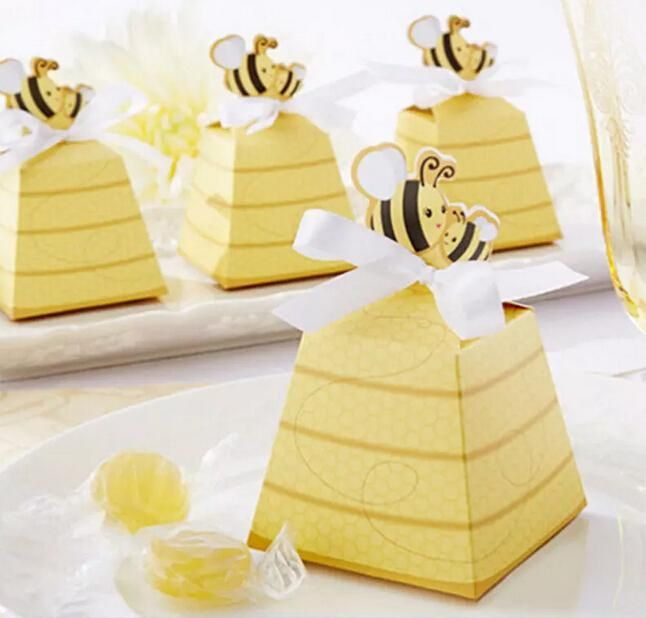 Gold Cute Bee Candy Box Boxes For Wedding Party Baby Shower Favor Gift Wholesale