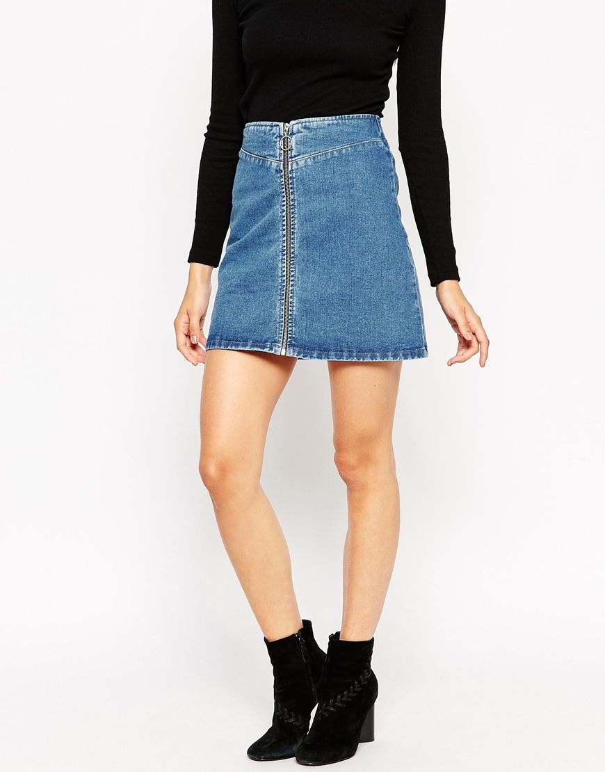 Image 4 of ASOS Denim A-Line Skirt With Zip Front in Midwash Blue ...