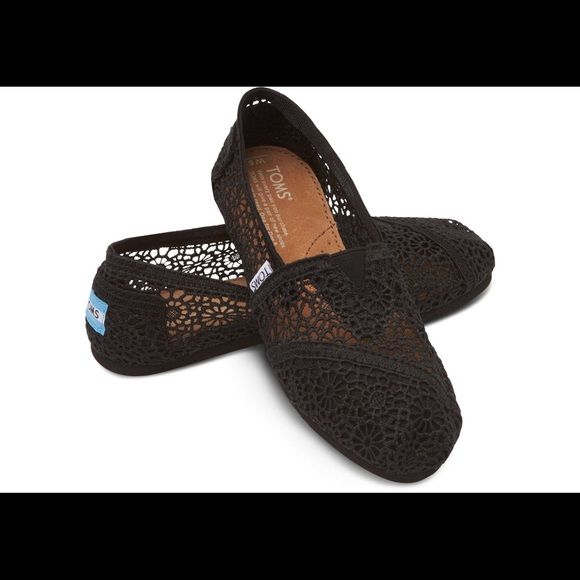 Black crochet TOMS Super cute and comfy black crochet TOMS. Womens size 8. Worn twice and look brand new! Comes with toms bag! TOMS Shoes