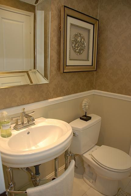 Powder Room After Classic Wallpaper Above The Chair Rail To Give The Room More Dram Chair Rail Leather Dining Room Chairs Restoration Hardware Dining Chairs