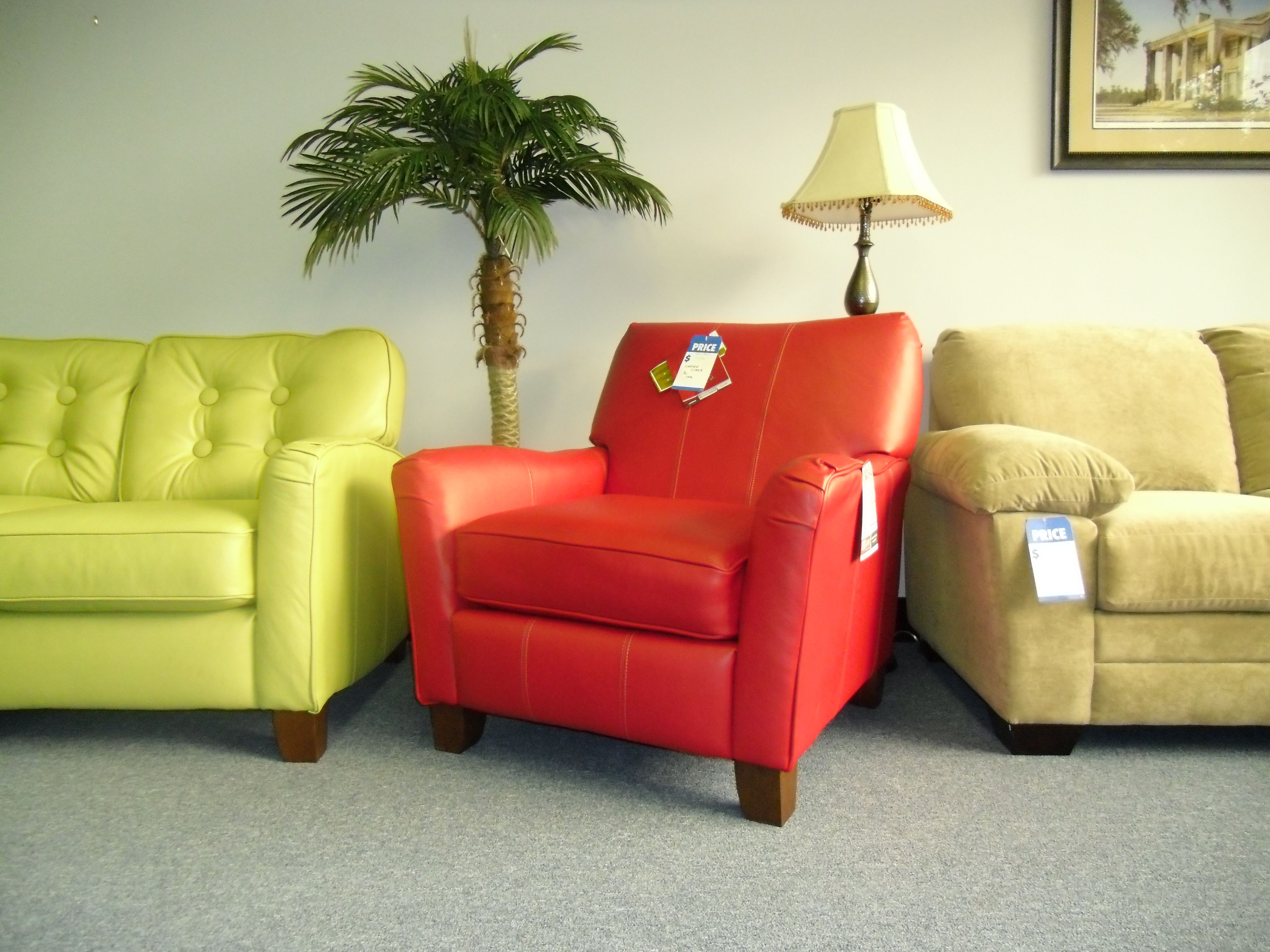 Bright Green Orange Red Neon Leather Furniture By Lane