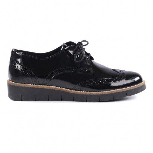 Chaussures cuir avec verni finition en noir lacets une SVzqUpM