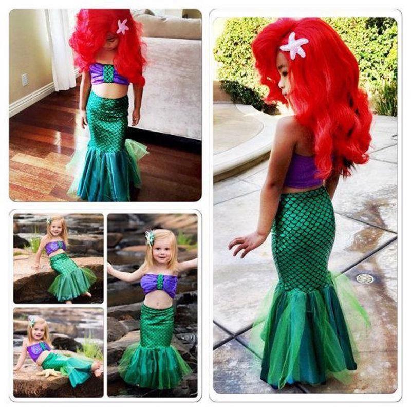 Girls Dress The Little Mermaid Tail Princess Ariel Costume Summer Fancy  Cosplay Tail Princess Mermaid e310f34a4d65