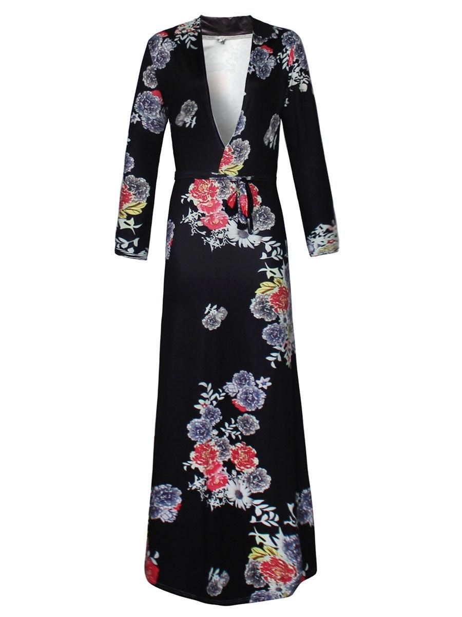 Fashionmia fashionmia deep vneck floral printed maxi dress