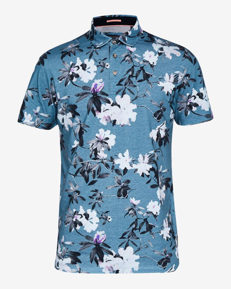 d447a1ba24 Floral print cotton polo shirt - Teal | Tops and T-shirts | Ted ...