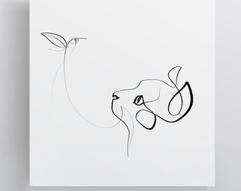 Best Selling Cat Print Black And White Cat Cat Line Art Minimal