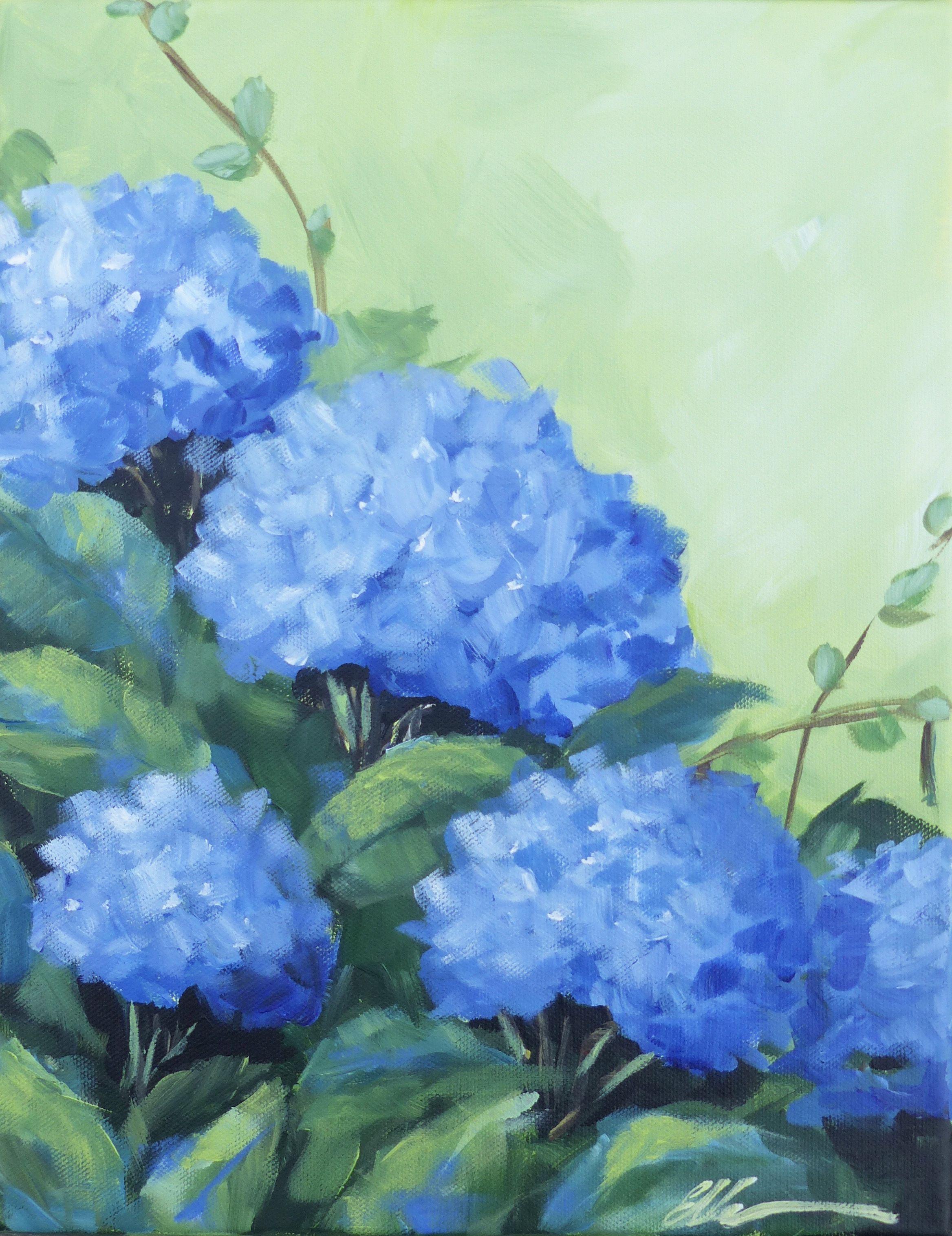 Blue Hydrangeas Flower Painting Floral Painting Flower Prints Art