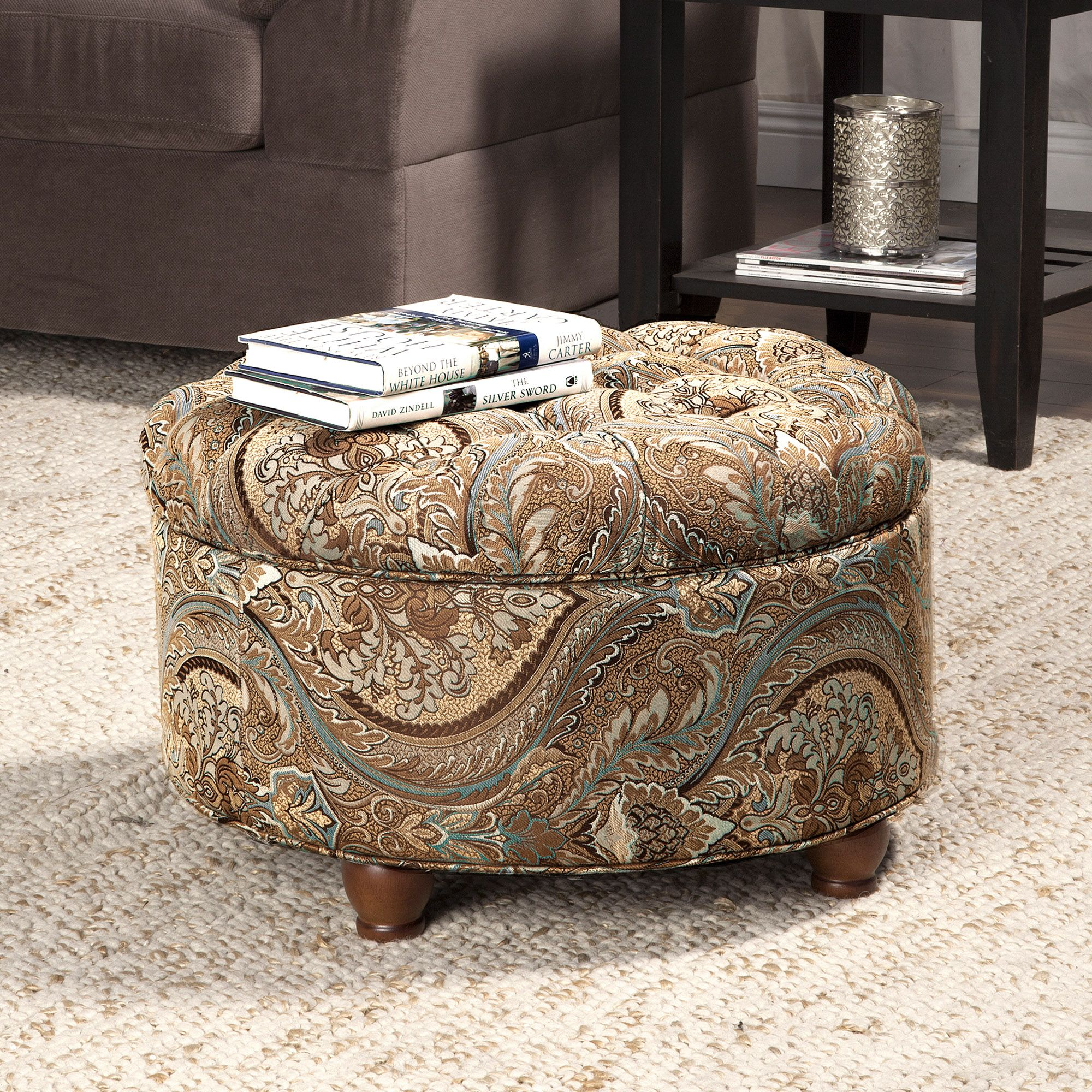 Pleasing Button Tufted Round Storage Ottoman Brown And Tel Paisley Theyellowbook Wood Chair Design Ideas Theyellowbookinfo