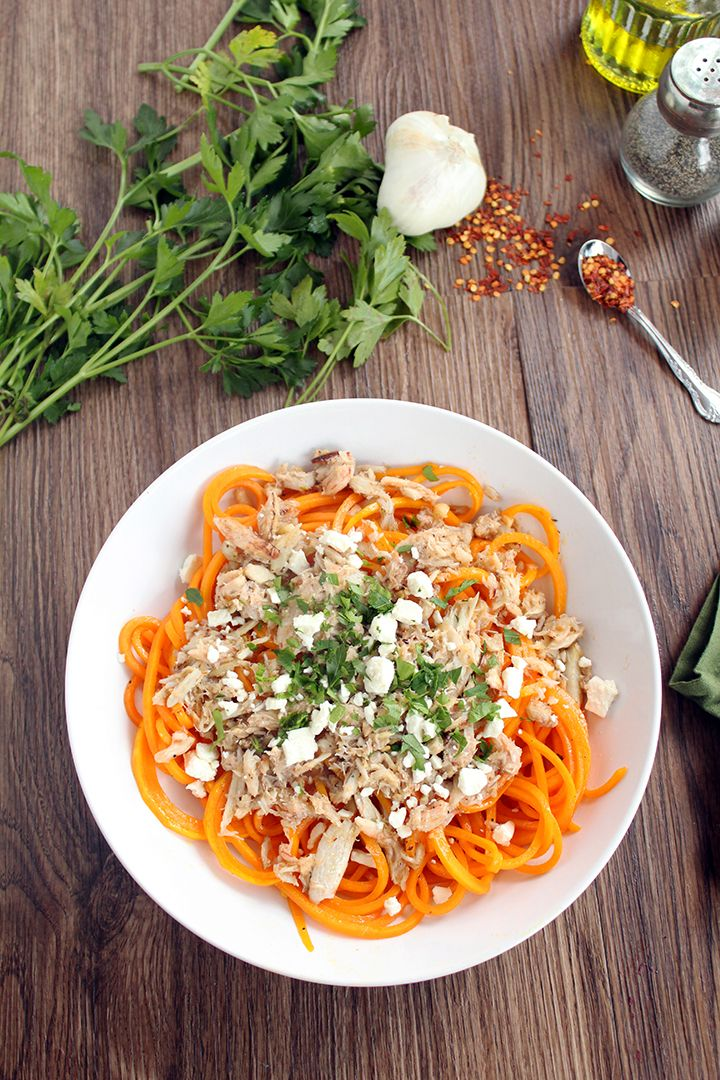 Spicy Garlic Lump Crab Butternut Squash Pasta with Feta and Parsley