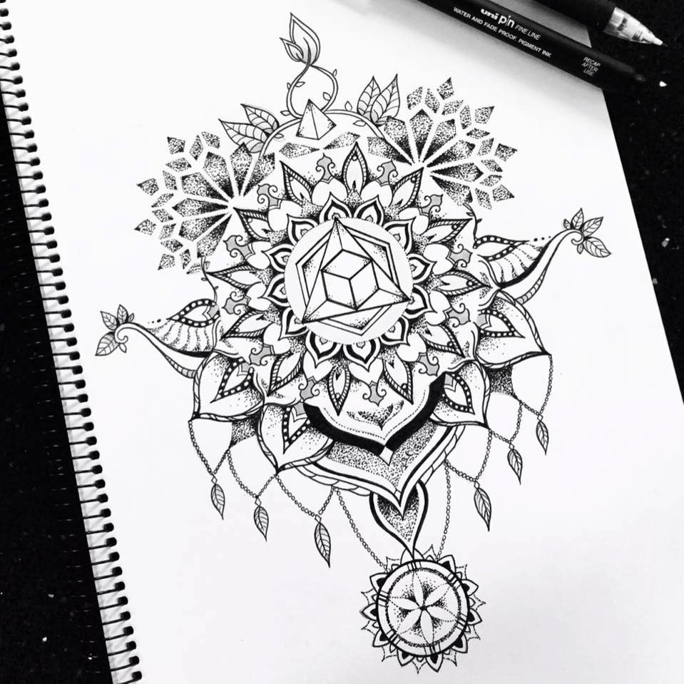 This is a photo of Dynamic Sacred Geometry Beetle Tattoo Drawing