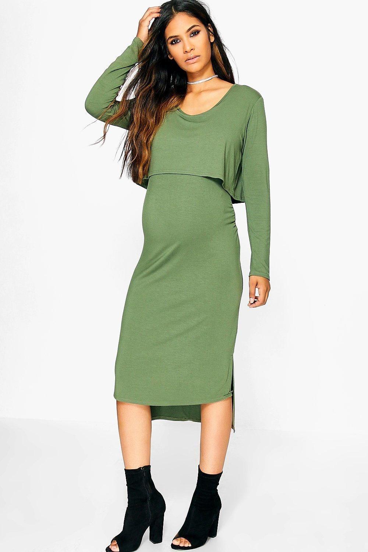 Maternity kerry long sleeve double layer midi dress midi dresses maternity kerry long sleeve double layer midi dress ombrellifo Image collections