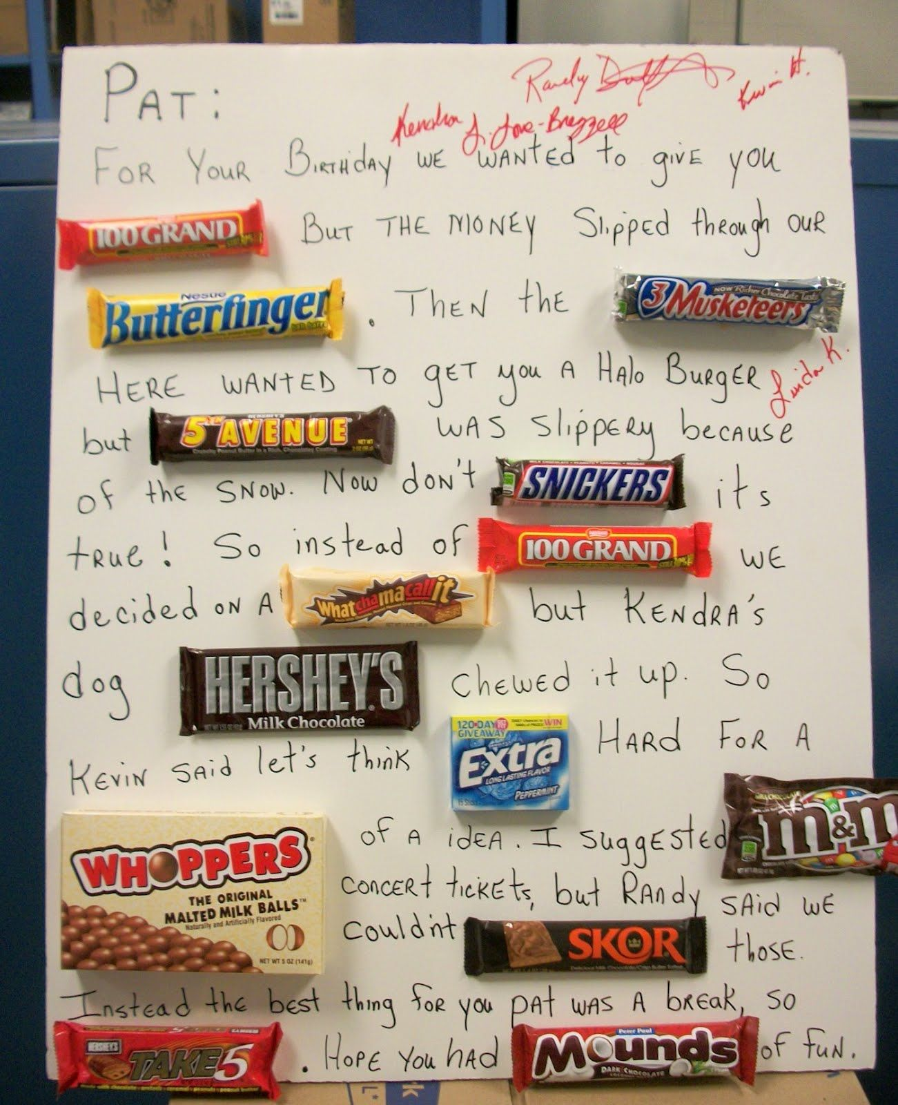 A Friend Of Mine At Work Had A Birthday Last Week That He Kept A Secret From Us All He Loves Chocolate And Cand Bar Card Candy Birthday Cards Candy Bar