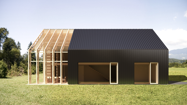satteldach bei dem die holzkonstruktion ber dem balkon weiter geht schwarz und holz haus. Black Bedroom Furniture Sets. Home Design Ideas