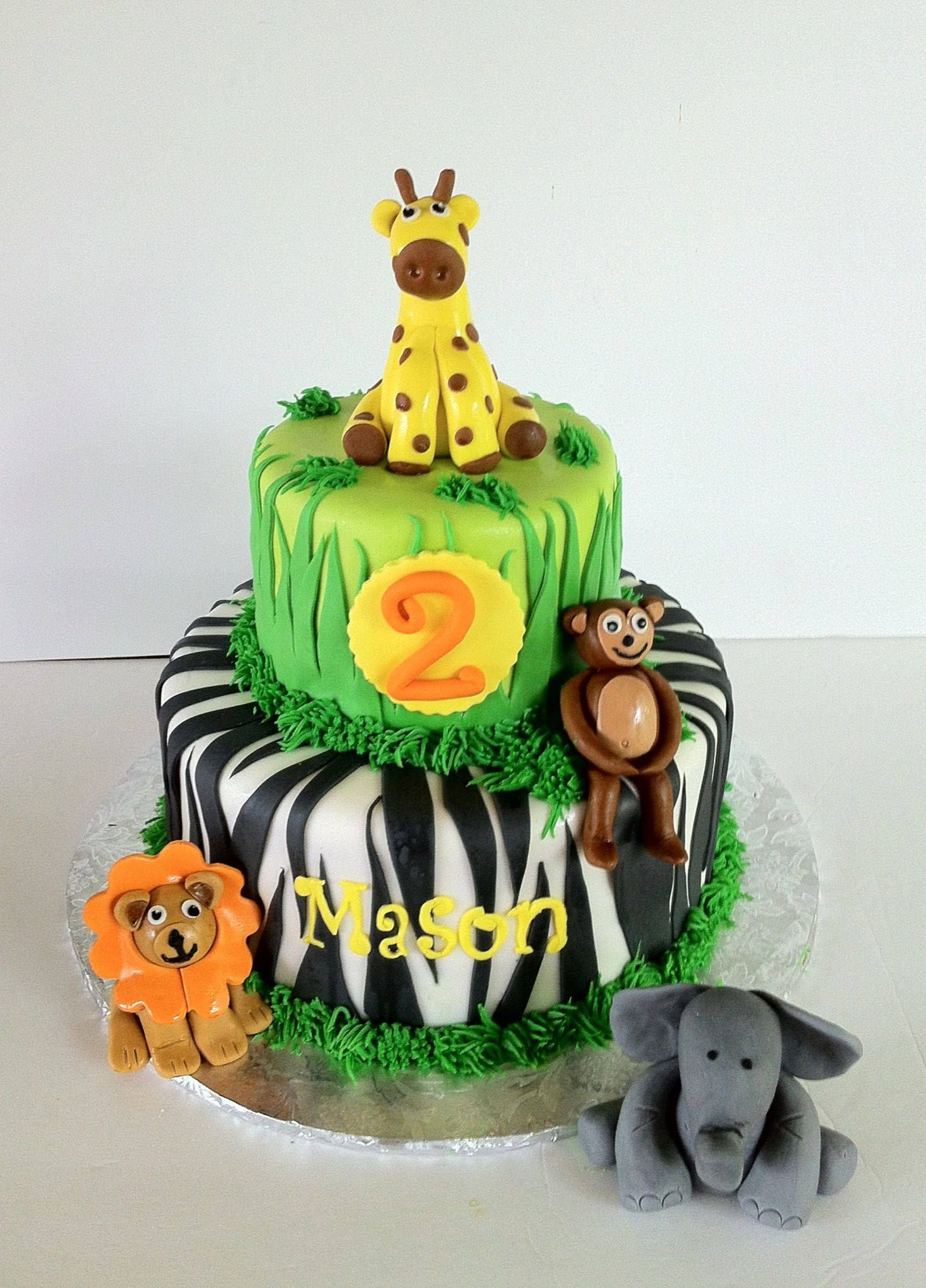 2nd Birthday Cake Jungle Theme With Fondant Giraffe Monkeylion And Elephant