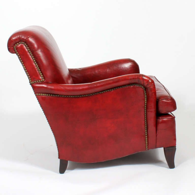 Comfy Vintage Red Leather Club Or Armchair 4