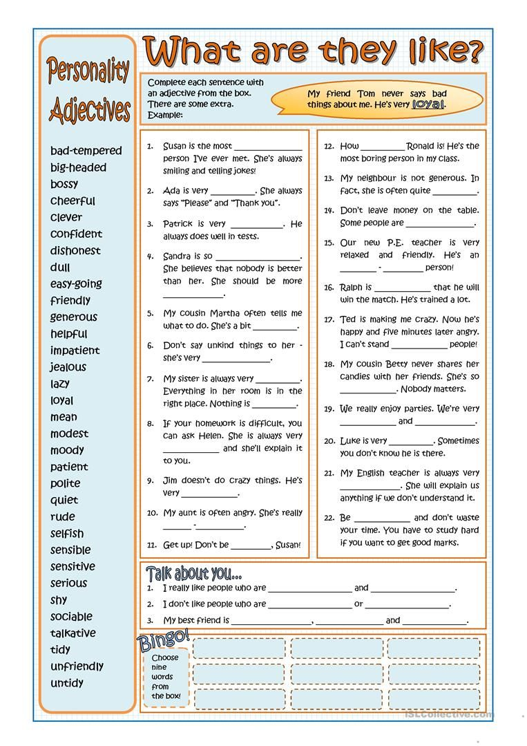 PERSONALITY ADJECTIVES worksheet Free ESL printable