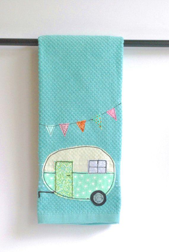 Vintage Camper Trailer Dish Towel on Etsy, $16.00 #glamping #trailer #vintage #diy #camping #travel