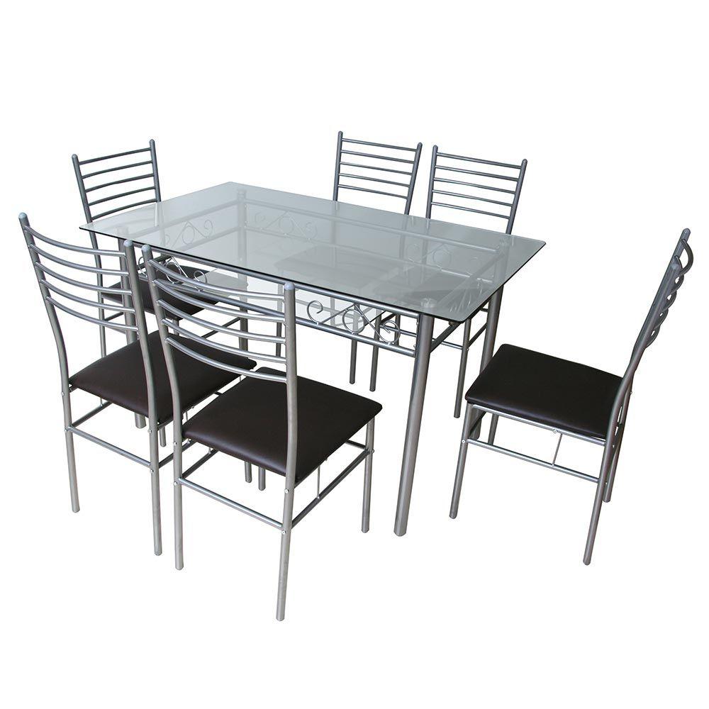Juego de comedor 6 sillas vidrio juegos de comedor for Comedores redondos de vidrio