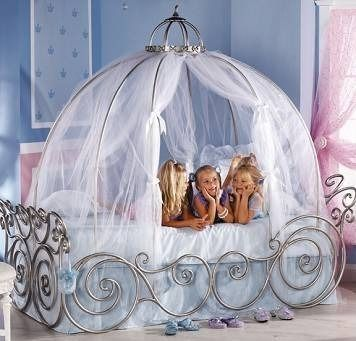 Wood Princess Carriage Bed Simple Home Decoration Cinderella