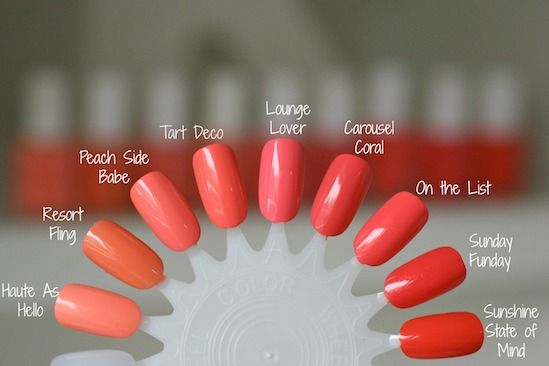 Essie Orange Coral Comparisons Tart Deco Peach Side Babe Haute
