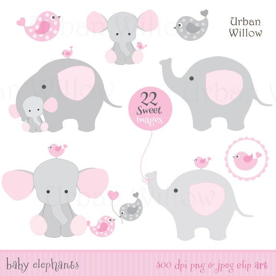 BABY GIRL Clipart, Cute Elephant Clipart, Pink Elephants, Baby ...
