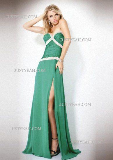 Sleeveless Floor Length Chiffon Green Evening Dresses   Evening ...