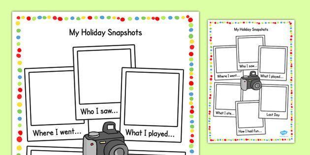 My Holiday Snapshots Writing Frame