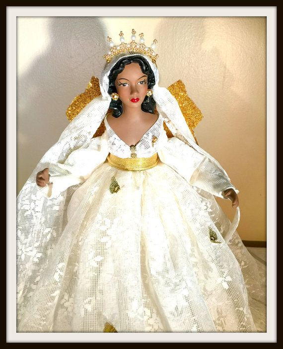 African American Christmas Angel Tree Topper Ivory Lace Black ...