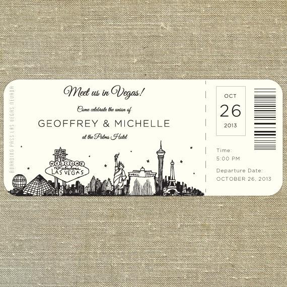 Las Vegas Skyline Plane Ticket wedding invitation; destination