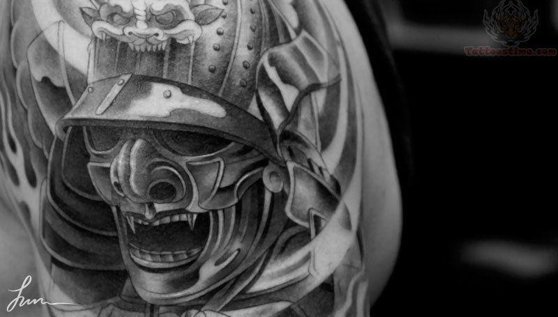 Black Ink Samurai Skull Tattoo Design For Shoulder Jpg 800 455 Samurai Tattoo Japanese Tattoo Mask Tattoo