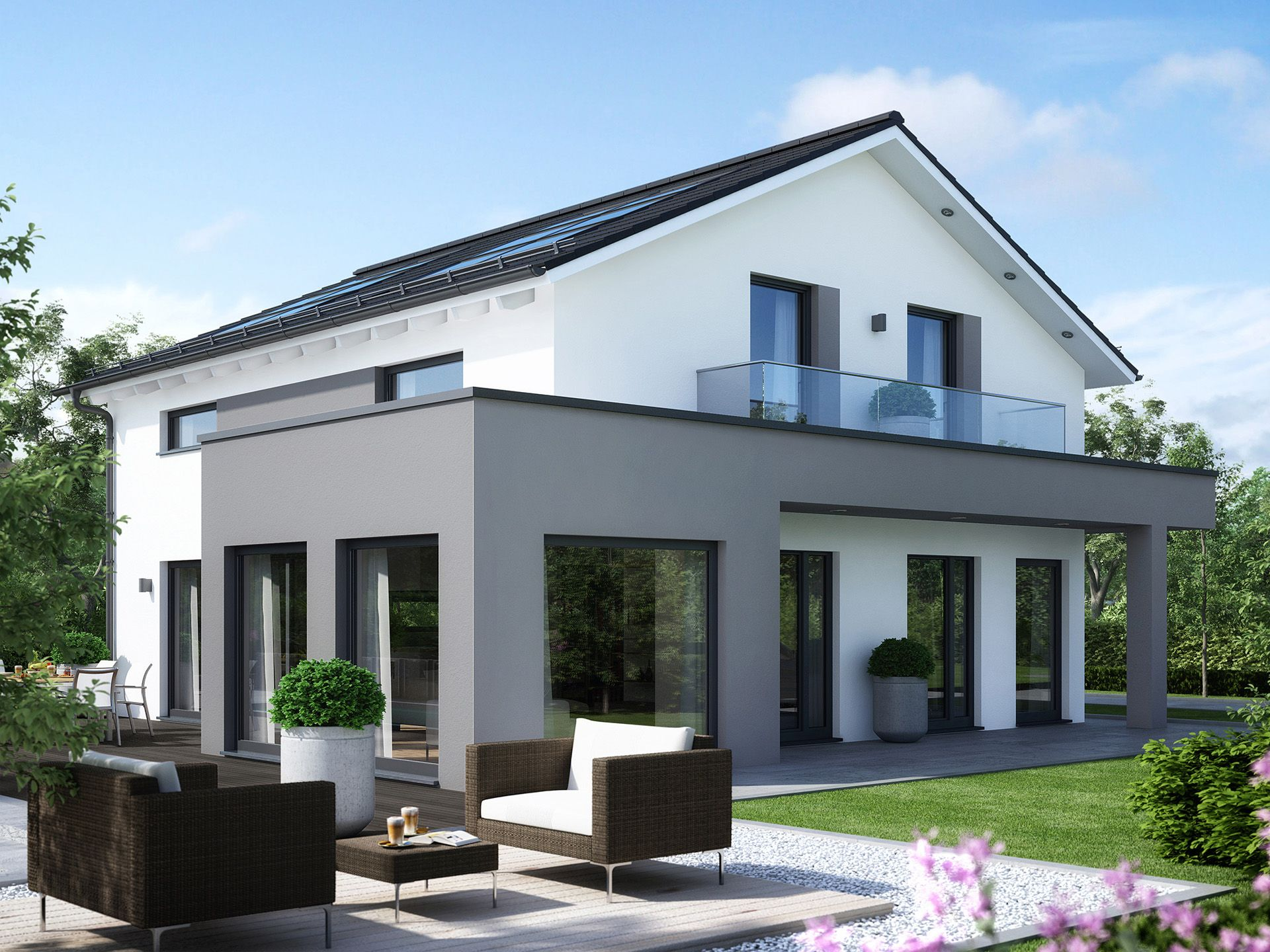 Modernes Fertighaus Sunshine Ulm Dream Facade House House Industrial House