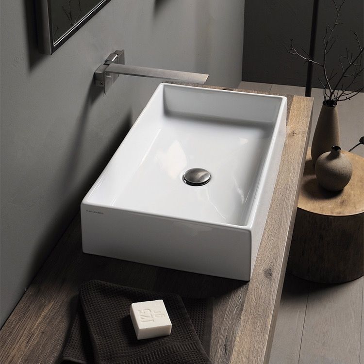 Rectangular White Ceramic Vessel Sink Wall Mounted Bathroom