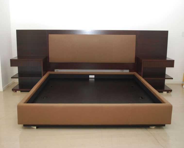 Modern King Platform Bed Frame Built In Side Table And Height ...