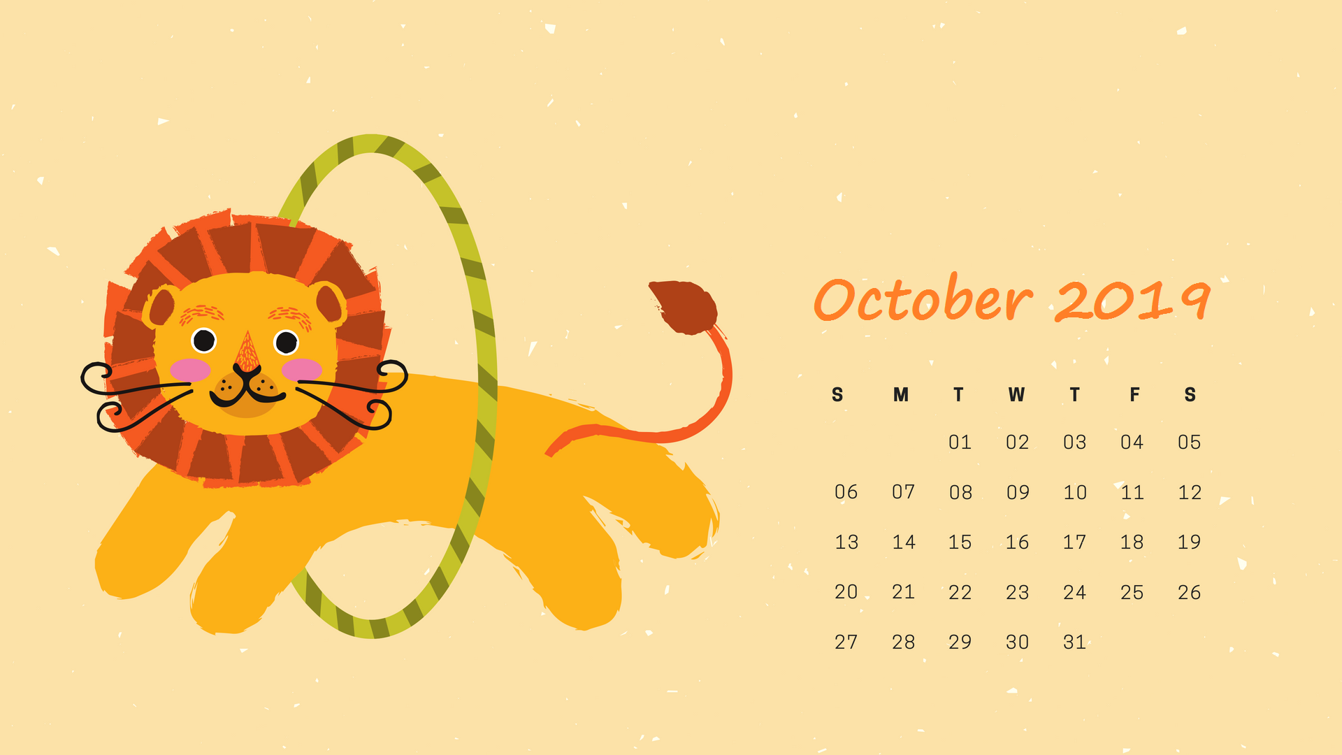 October 2019 Desktop Calendar Wallpaper Calendar